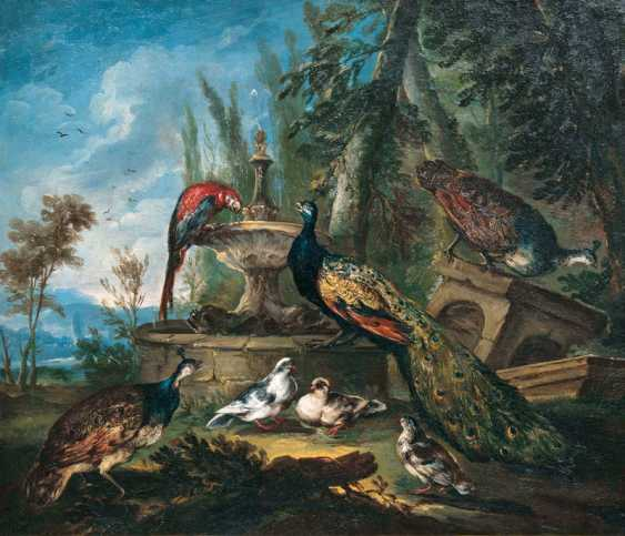 """Giovanni Crivelli """"peacocks, pigeons, Guinea fowl and a Macaw at the fountain"""" - photo 1"""