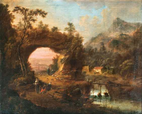 """Johann Christian Vollerdt """"land of sheep with shepherds by the river"""" - photo 1"""