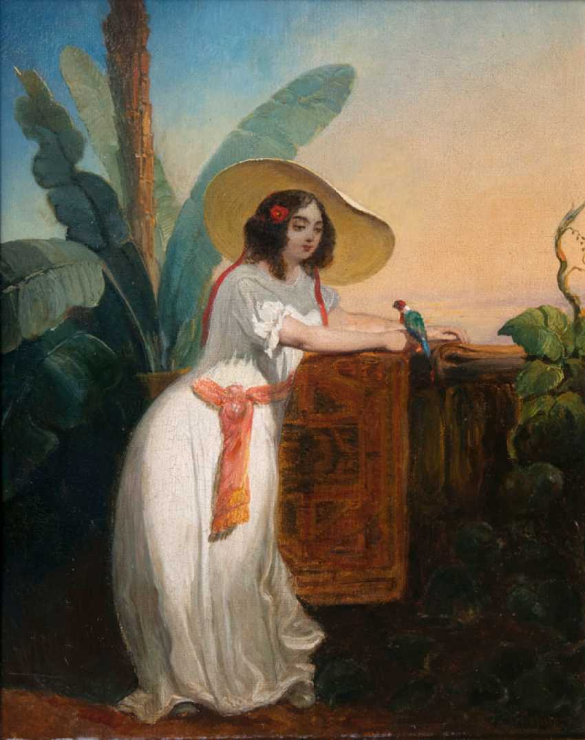 """Henri Frédéric Schopin """"girl with Parrot"""" - photo 1"""