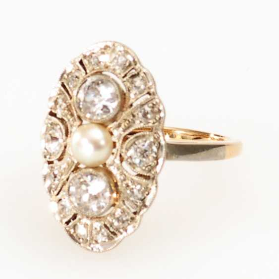 Art Deco Ring with old European cut diamonds and cultured pearl. - photo 1