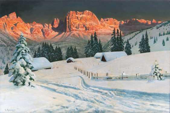 Alois ArneGelbgolder ''Die Rosengarten-Gruppe im Alpenglühen'' - photo 1