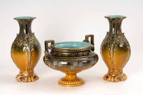 2 Historismus-Vasen und 1 Cachepot, Utzschneider & Co. - Foto 1