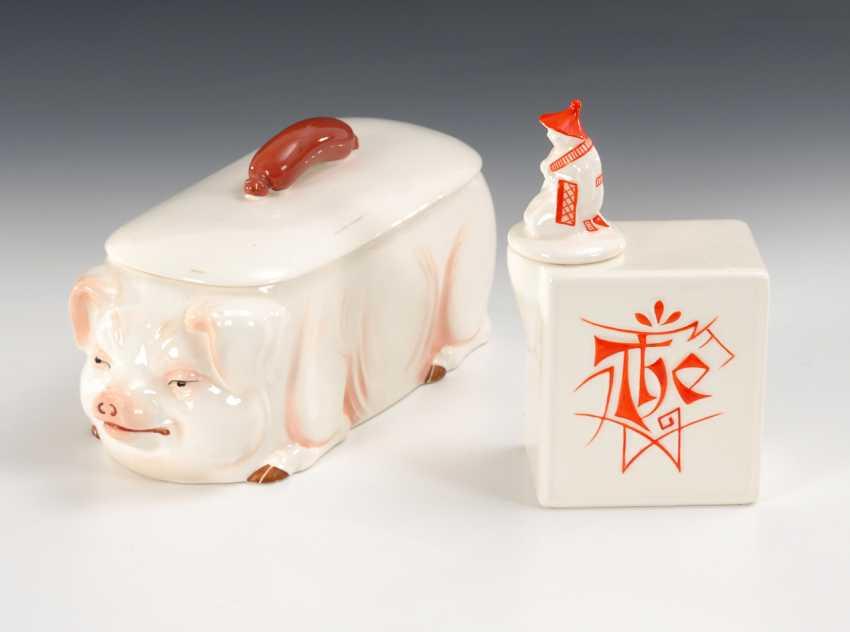 Art-déco-Teedose und Dose in Schweinsform, Max Roesler. - Foto 1