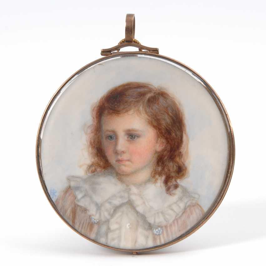ROSENBERG, Ethel Jenner: Rundes Miniatur-Porträt eines Kindes im Goldrahmen. - Foto 1