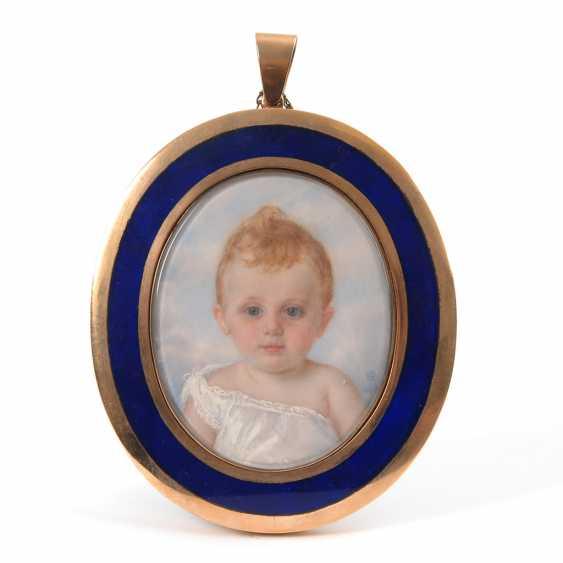 ROSENBERG, Ethel Jenner: Miniatur-Porträt eines Kleinkindes im Goldrahmen. - Foto 1