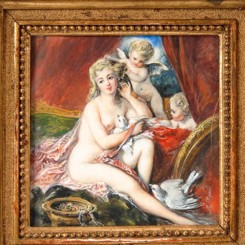 Elfenbeinminiatur: Venus bei der Toilette. - Foto 1