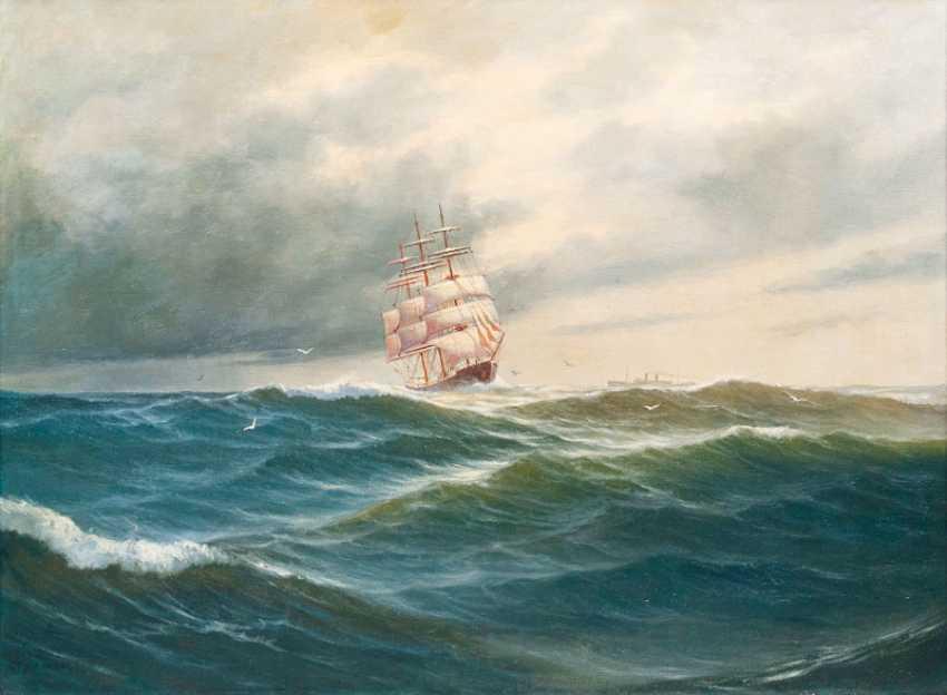 "Robert Schmidt-Hamburg ""encounter at sea - three-master and steam-ship"" - photo 1"