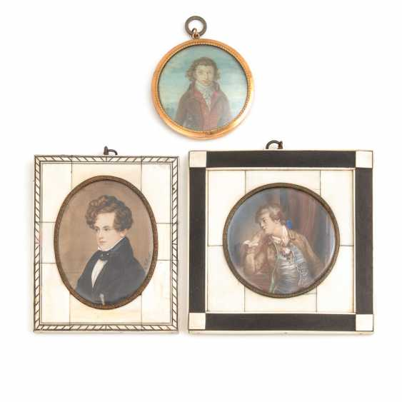 3 Miniaturen: Herrenbildnisse. - Foto 1