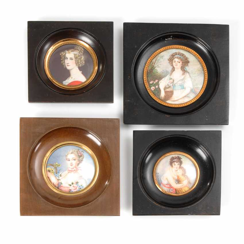 4 Miniaturen in Holzrahmen. - Foto 1