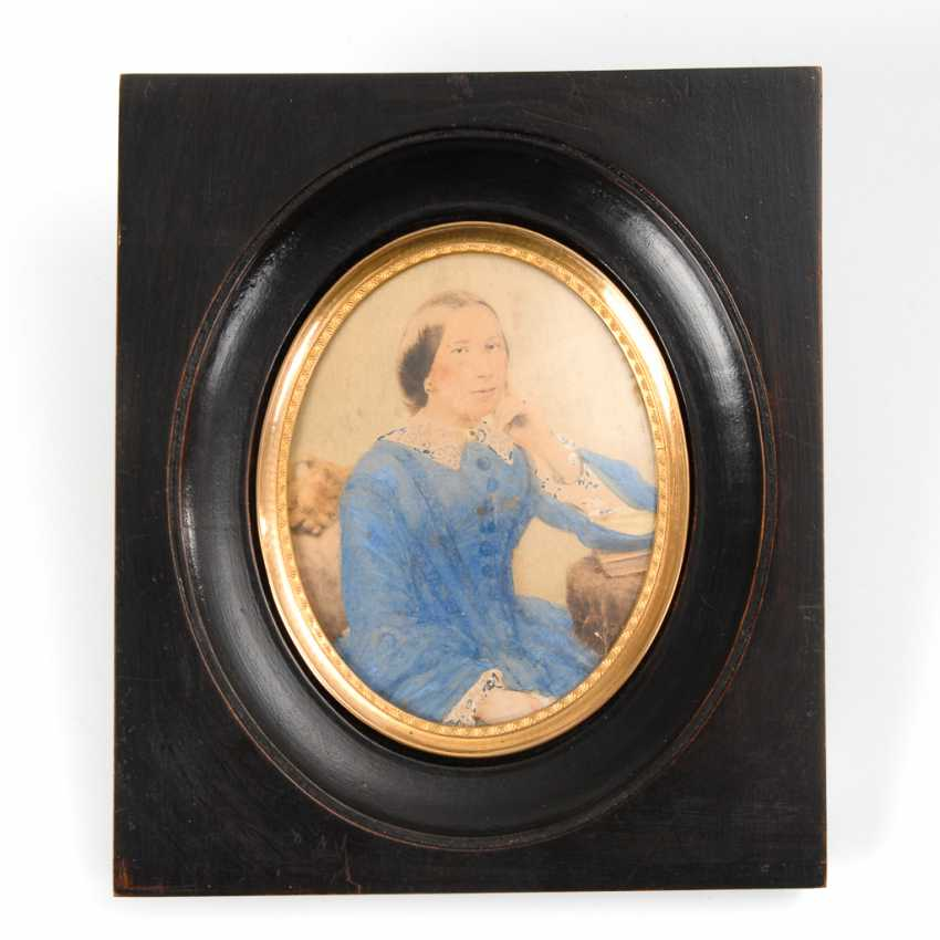Biedermeier-Miniatur: Damenporträt. - Foto 1