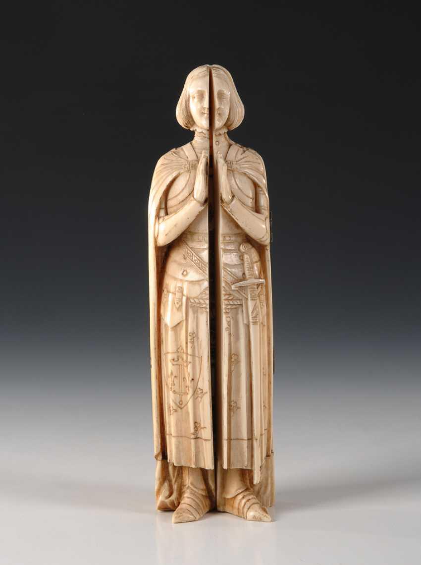 Elfenbein-Schreinfigur: Betende Jean d'Arc. - Foto 1