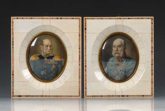2 Miniaturen: Kaiser Wilhelm I. und Franz Joseph. - Foto 1