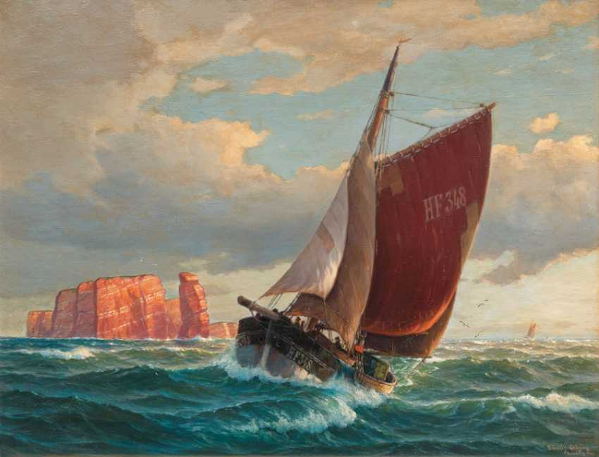 "Martin Franz Fräncis - Glüsing ""Finkenwerder bateau de Pêche, HF 348 avant de Helgoland"" - photo 1"
