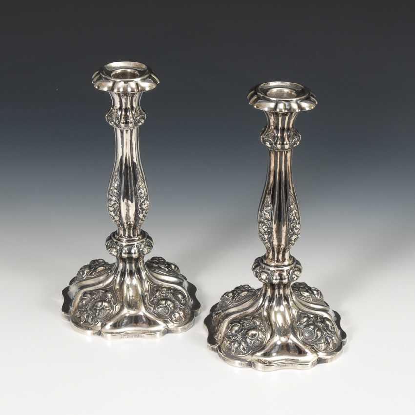 Paar Silberleuchter. - Foto 1
