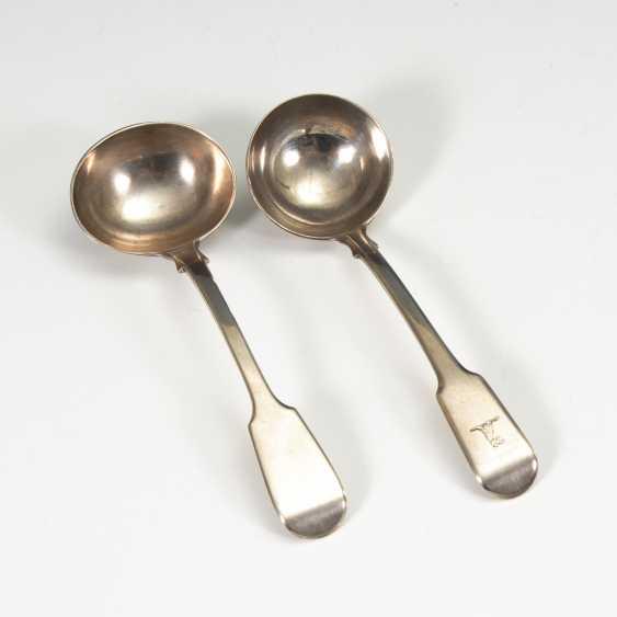2 kleine, englische Silberkellen. - Foto 1