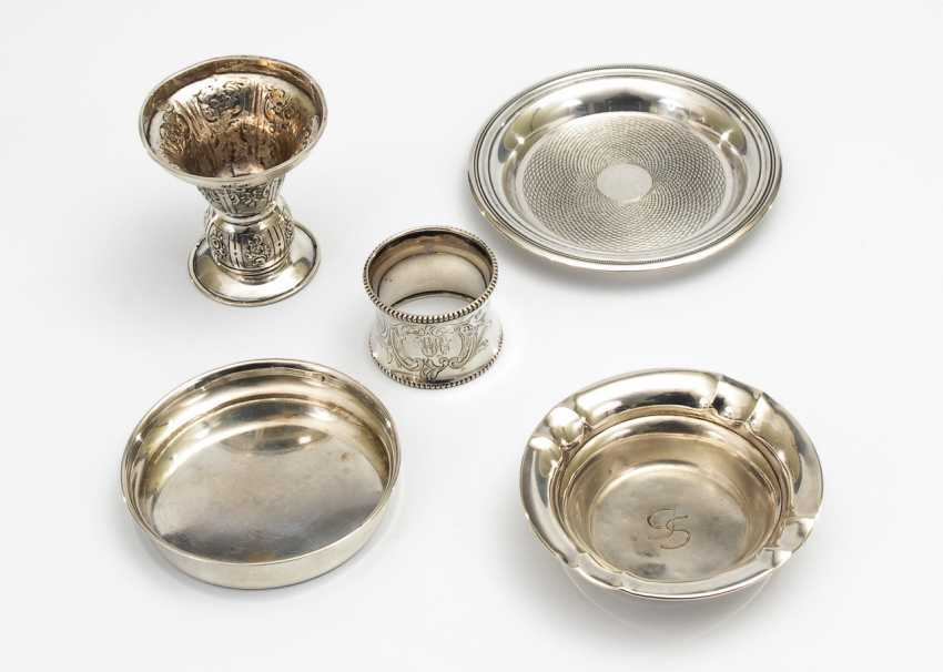 Konvolut 4x Silber + versilbertes Tellerchen. - Foto 1