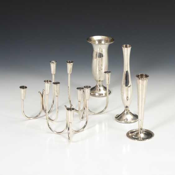 3 Vasen und 3 Kerzenleuchter, Silber. - Foto 1