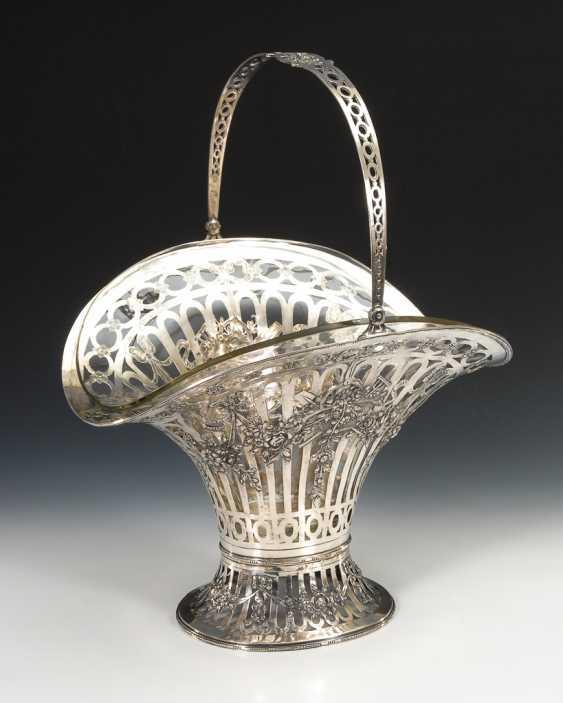 Großer Silberkorb mit Glaseinsatz. - Foto 1