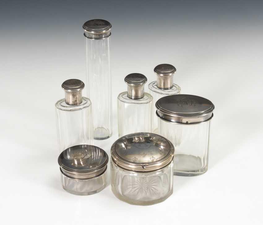 7 Glasdosen mit Silberdeckeln. - Foto 1