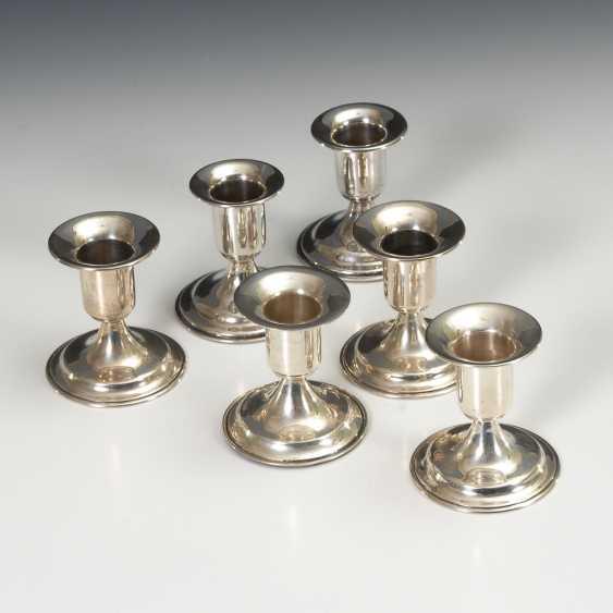 Set von 6 kleinen Silberleuchtern. - Foto 1