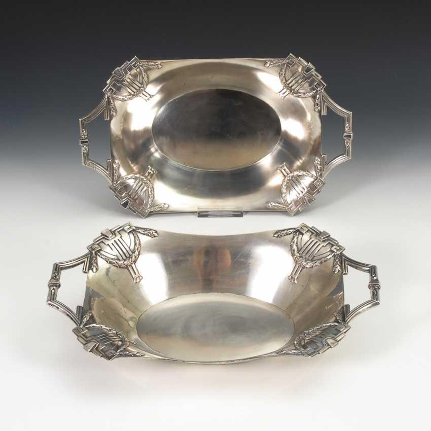 Silbernes Schalenpaar, Art Nouveau. - Foto 1