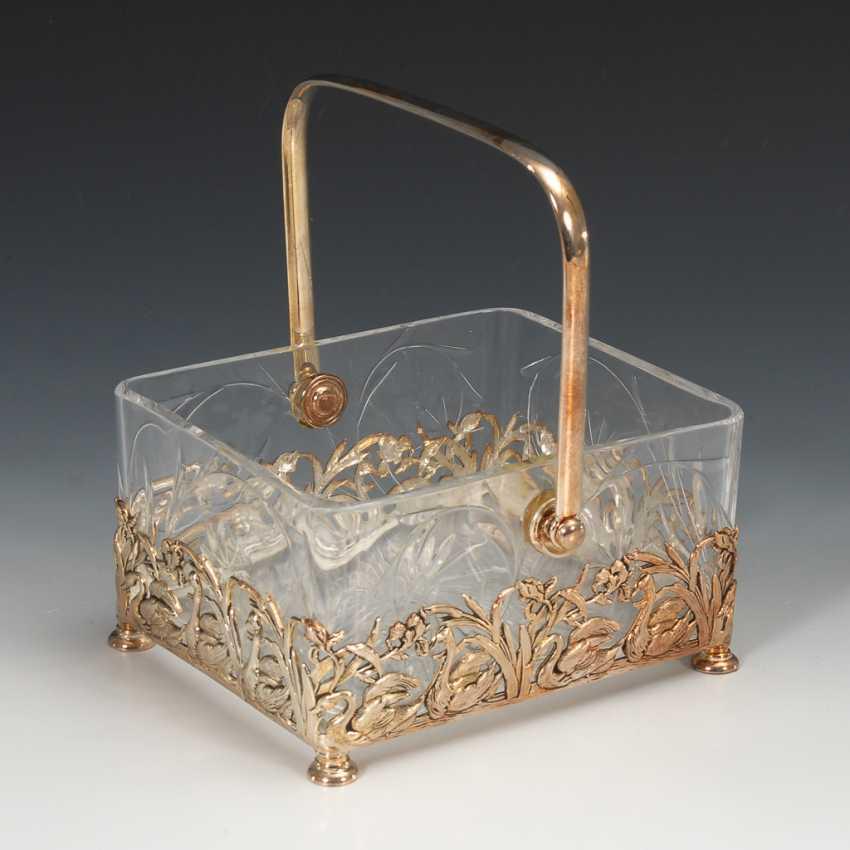 Glasschale mit versilberter Montierung. - Foto 1