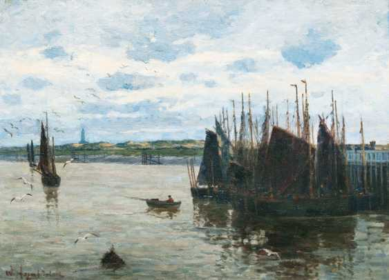 "Wilhelm Hambüchen ""fishing boats in the Canal of Dienport"" - photo 1"