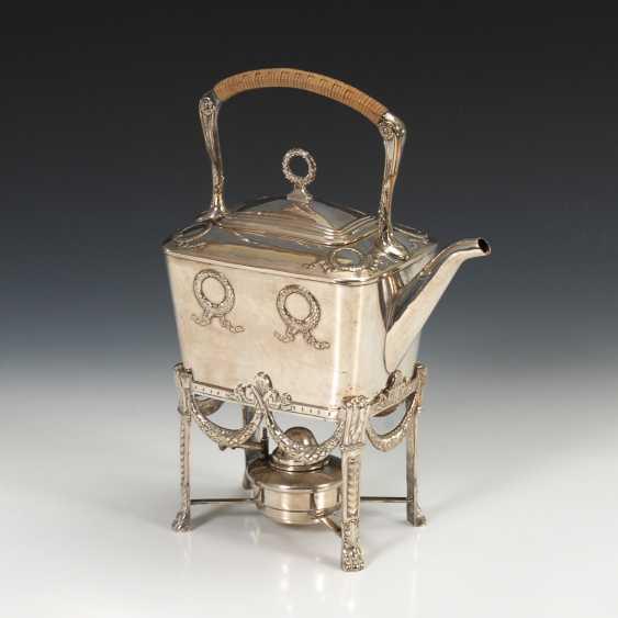 Versilberte Jugendstil-Teekanne auf Rechaud, WMF. - Foto 1