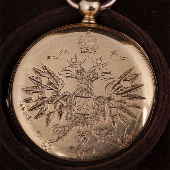 Gold 3-cover pocket watch with engraved double-headed eagle in the box - photo 2