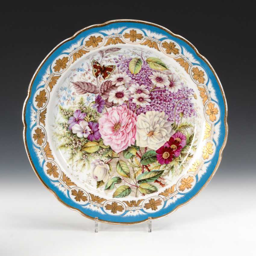 Russischer Teller mit Blumenmalerei. - Foto 1