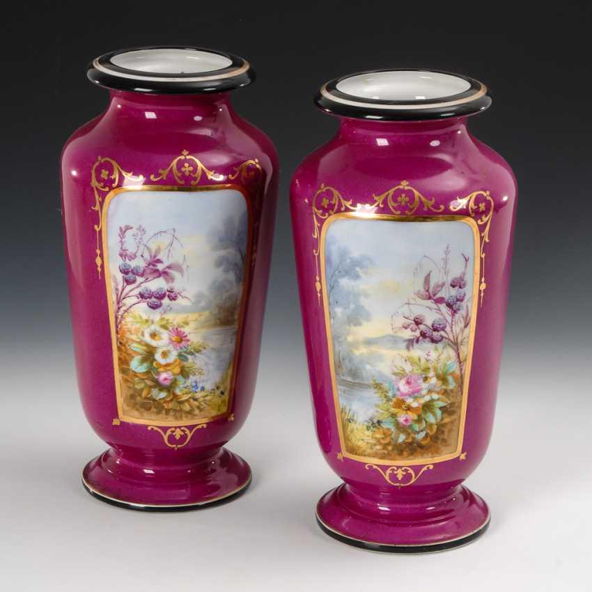 Paar Vasen mit Blumenmalerei. - Foto 1