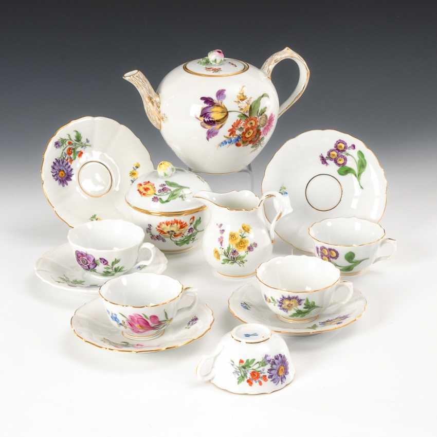 Kleines Teeservice mit Blumenmalerei, Meissen. - Foto 1