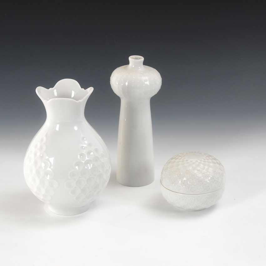 2 vases, 1 sugar bowl, Meissen. - photo 1