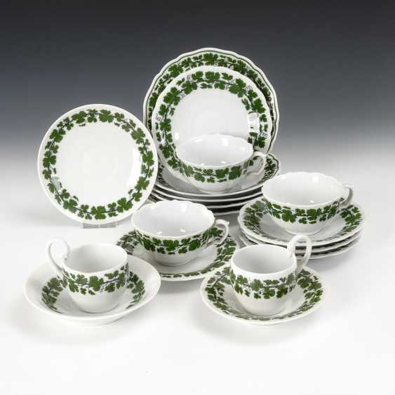 5 vine leaves-place settings and 3 saucers, Meissen. - photo 1