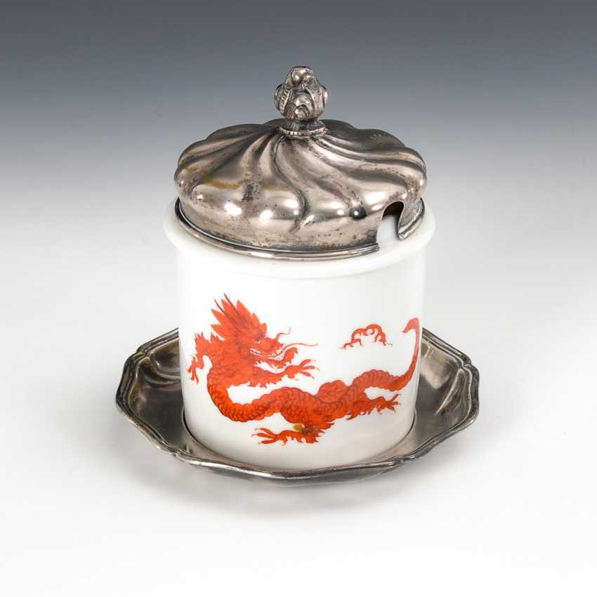 Mustard pot Meissen with silver lid and Presentoir,. - photo 1