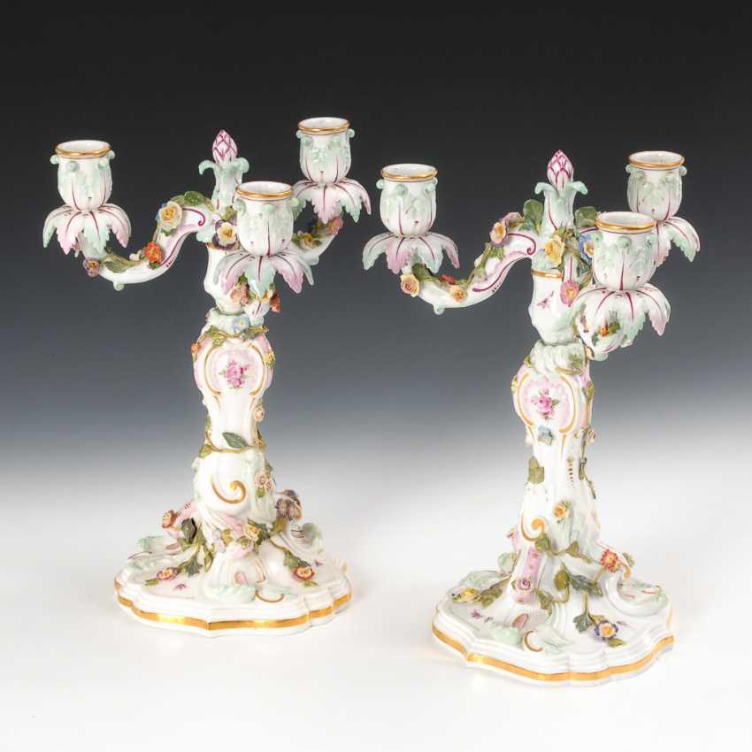 Pair Of Candlesticks, Meissen. - photo 1