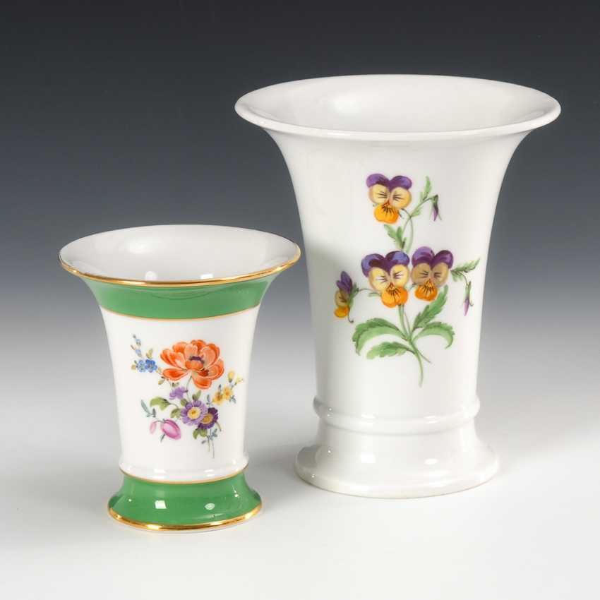 2 crater vases with flower painting, Meissen. - photo 1