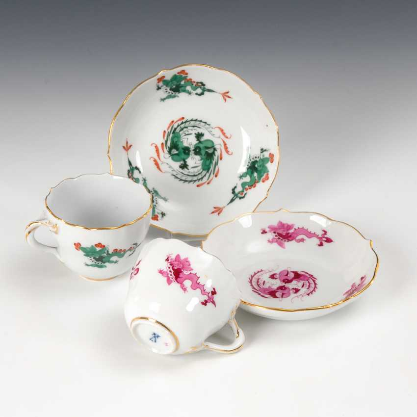 2 mocha cups with dragon decoration, Meissen. - photo 1