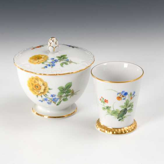 Sugar bowl and Cup with flower painting, Meissen. - photo 1