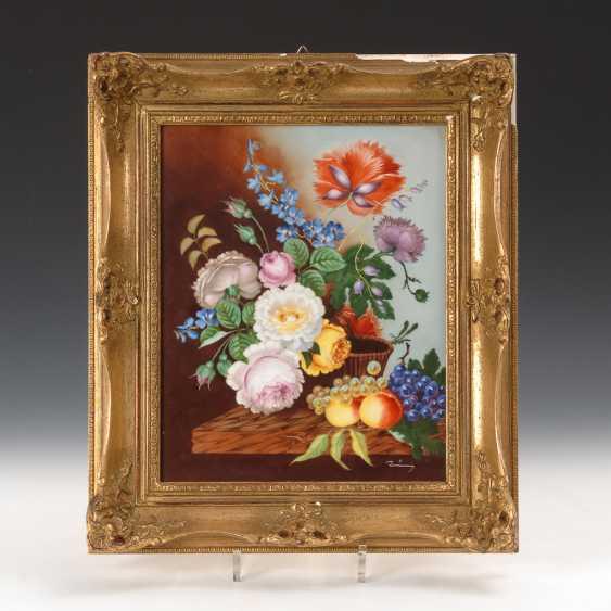 Porzellangemälde: Blumenstilleben. - Foto 1