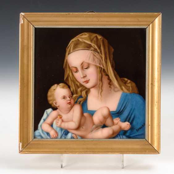 Porzellangemälde: Madonna mit Kind, Hutschenreuther. - Foto 1