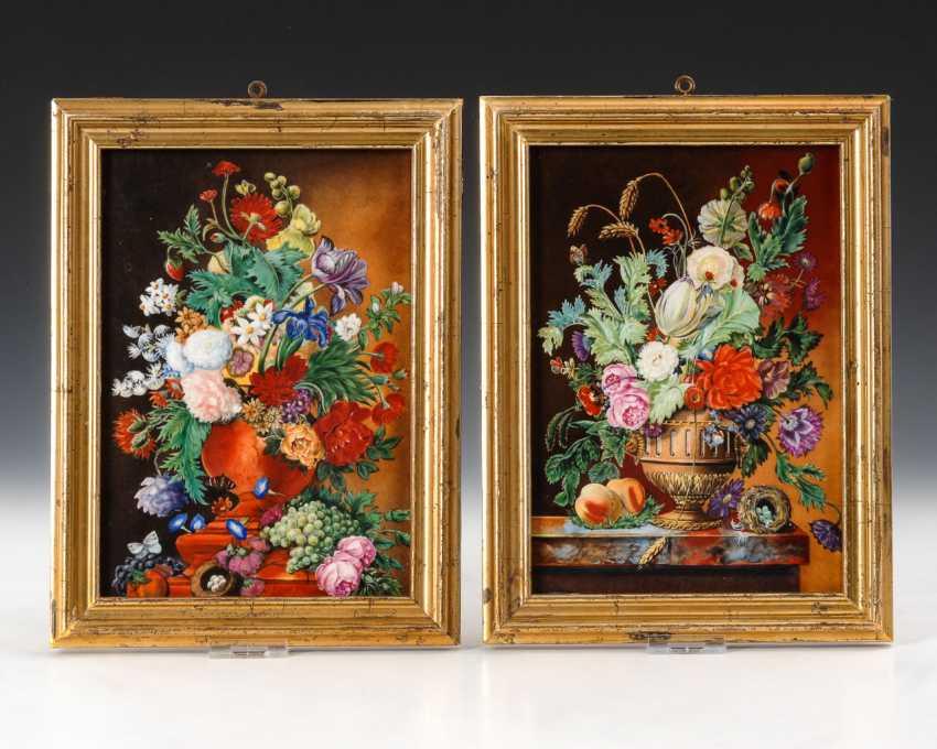 2 Porcelain Painting: Flower Still. - photo 1