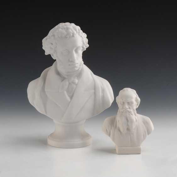 2 Büsten: Puschkin und Tolstoi. - Foto 1
