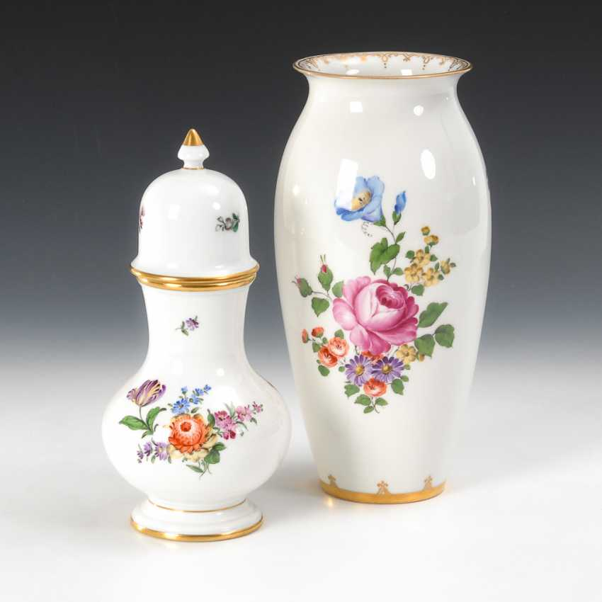 Vase und Deckelvase, Augarten. - Foto 1