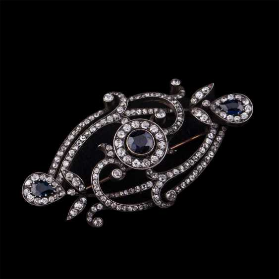 Russian gold brooch with Sapphires and diamonds - photo 1