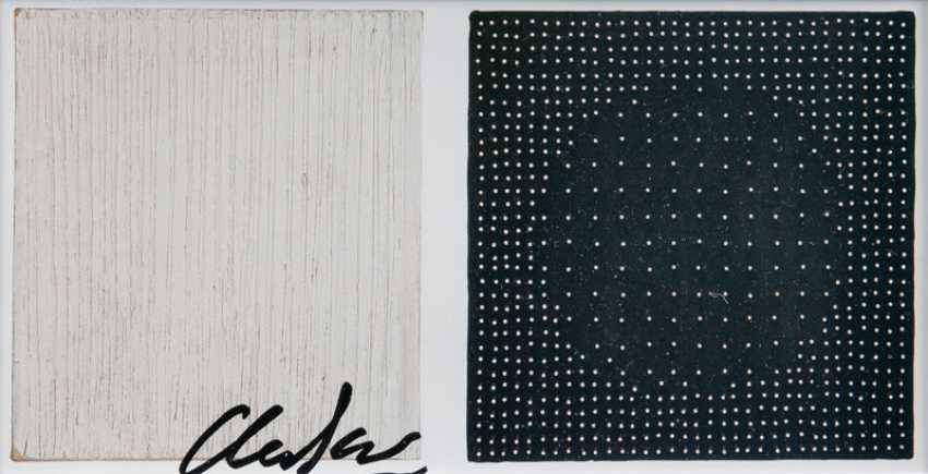 """Günther Uecker, """"Vertical Structure Of/Structure Of The Black-And-White"""" - photo 1"""