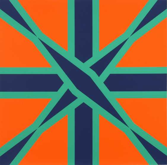HAACK, C.: Geometrisches Muster in Orange, Grün und Schwarz. - Foto 1