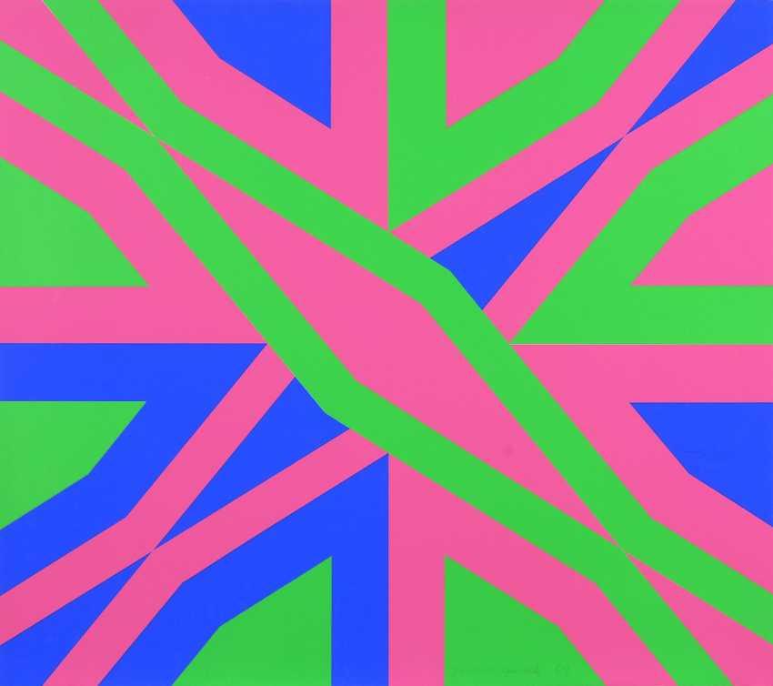 HAACK, C.: Geometrisches Muster in Pink, Grün und Blau. - Foto 1