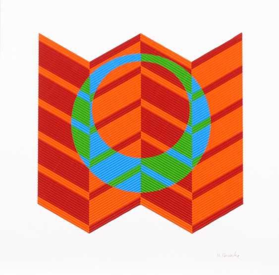 HEINICKE, Hajo: Op-Art-Relief in Orange, Blau und Grün. - Foto 1