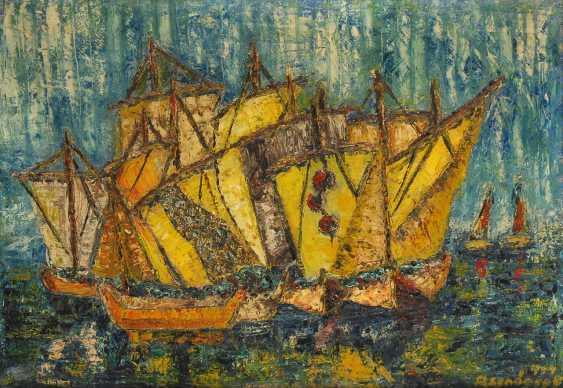ASENDORPF, BartolDurchmesser: Expressives Meeresbild mit Fischerbooten. - photo 1